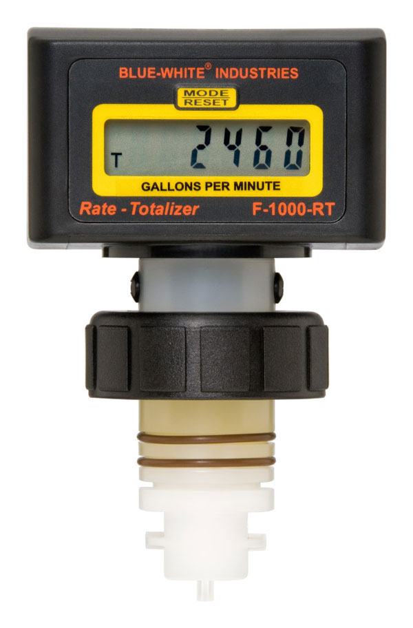 """F-1000 Digital Paddlewheel Flowmeter ♦ Water Ranges: 0.4 to 8000 GPM (1 to 27000 LPM) ♦ Pipe Sizes: ⅜"""", up to 12″ ♦ Sensor mounted on pipe fitting. Battery operated Product description: • Easy to read 6 digit LCD, up to 4 decimal positions • Battery Operated (2 AAA batteries included) • Acceptable for Vertical or Horizontal installation • Total Reset function can be disabled • Display update time: Rate 1.5 sec., Total 0.5 sec • Factory calibrated – Nothing to program • NEMA 4X weather resistant enclosure • LCD not recommended for direct sunlight exposure • Standard Models ship with pipe fitting included"""